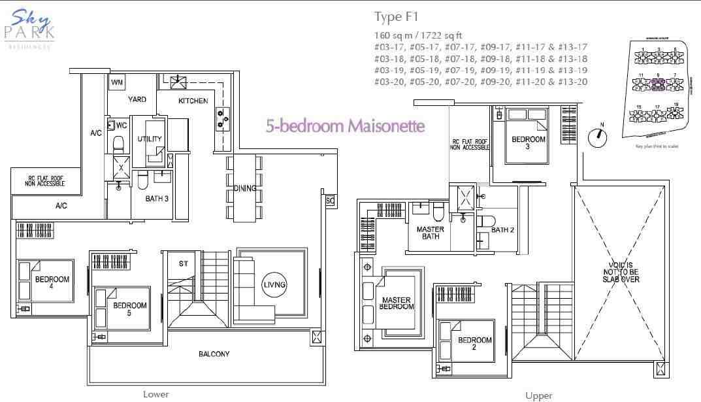 Skypark residences floorplan f1 5bedroom maisonette