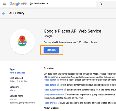 Ionic 3, Angular 5 and Cordova Geofence with Google Places API - Enable API