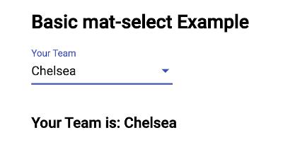 Angular Material Form Controls Select (mat-select) Example - Selected Item