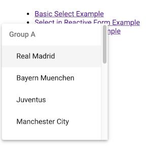 Angular Material Form Controls Select (mat-select) Example - Grouping