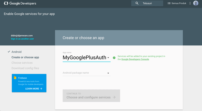 Ionic 3 Google Plus Authentication Tutorial - Google Developers add Android