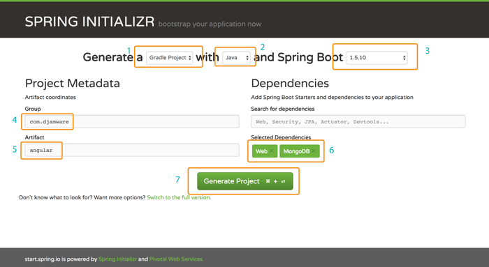 Spring Boot, MongoDB and Angular 5 CRUD Java Web Application - Spring Initalizr