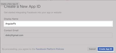 Angular Facebook Login - Create New App ID