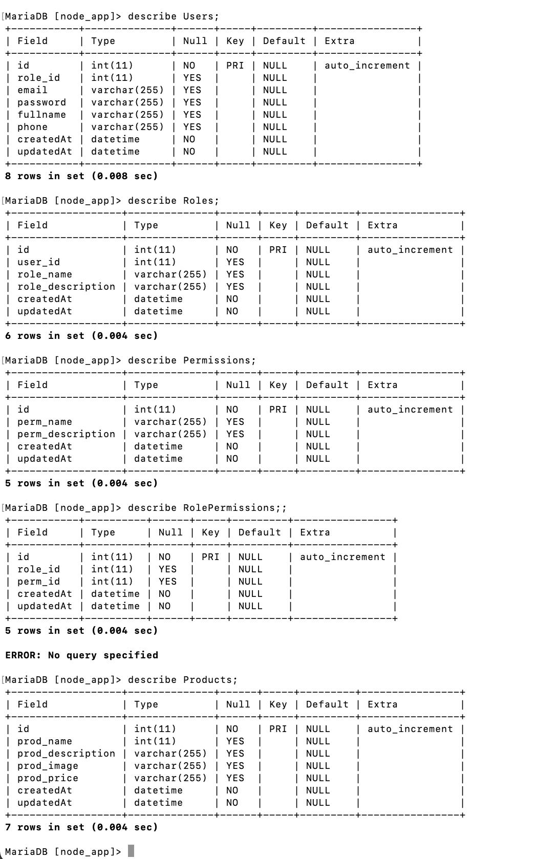 Authentication Role Permission API using Node Express MySQL - DB structure