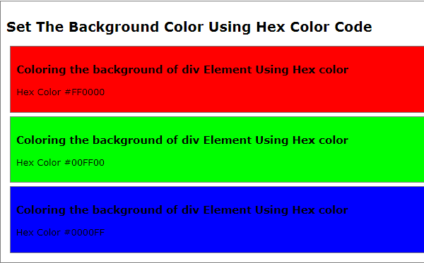 HTML5 Tutorial : Set or Change HTML Background Color - Background Color Using Hex Color Code