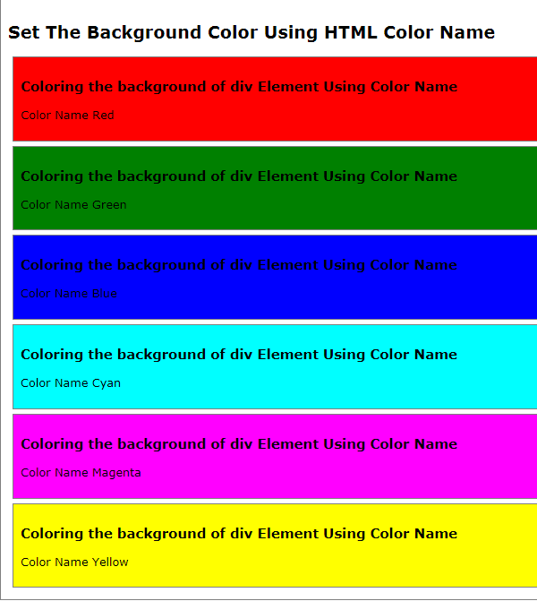HTML5 Tutorial : Set or Change HTML Background Color - HTML Color Name