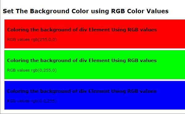 HTML5 Tutorial : Set or Change HTML Background Color - using RGB Color Value