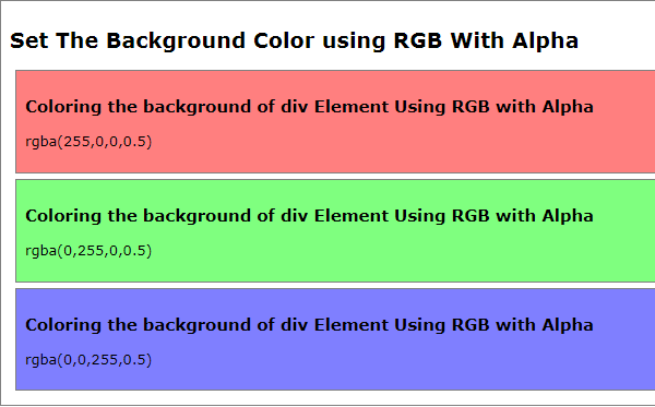 HTML5 Tutorial : Set or Change HTML Background Color - using RGB with Alpha
