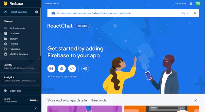 React JS Tutorial: Building Firebase Chat App (React Hooks) - dashboard