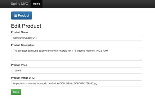 Spring Boot Tutorial: Build an MVC Java Web App using Netbeans - Edit Product