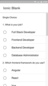Ionic Angular Radio Button Checkbox FormGroup FormArray FormControl - home page