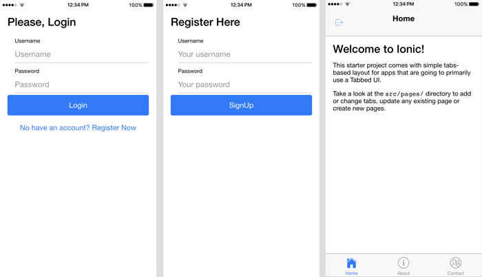 Ionic 2 Rest Api Authentication - Page Views