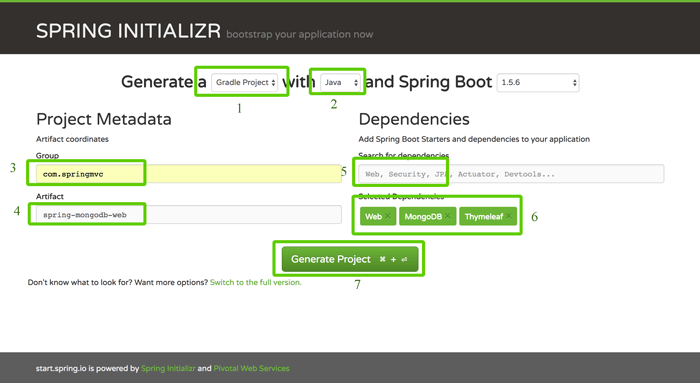 Spring Boot, MVC, Data and MongoDB CRUD Java Web Application - Spring Initializer