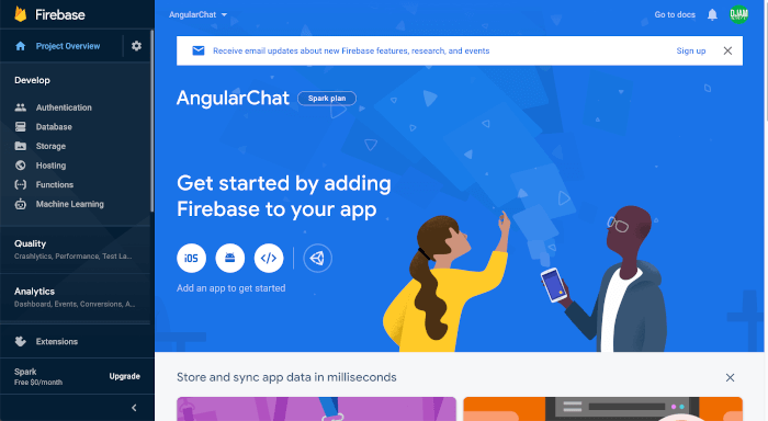 Angular 9 Tutorial: Creating Firebase Chat Web App - project dashboard