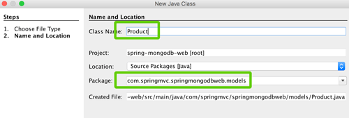 Spring Boot, MVC, Data and MongoDB CRUD Java Web Application - New Java Class