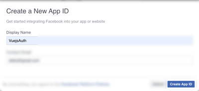Vue.js 2 Tutorial: Facebook Login Example - Create App ID