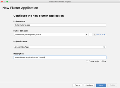 Flutter Tutorial: Create a Native Android and iOS Apps Quickly - new flutter application
