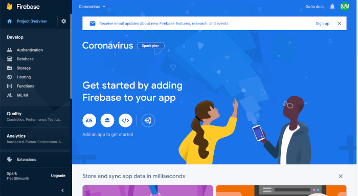 Build Ionic 5 React Firebase Coronavirus Dashboard Mobile App - project dashboard