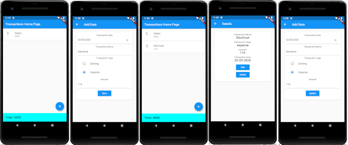 Flutter Tutorial: SQLite Offline CRUD iOS and Android Apps - Android demo