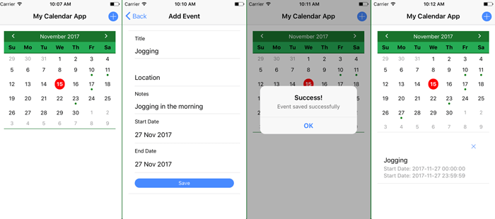 Build Ionic 3 Angular 5 Calendar UI with Event Integration