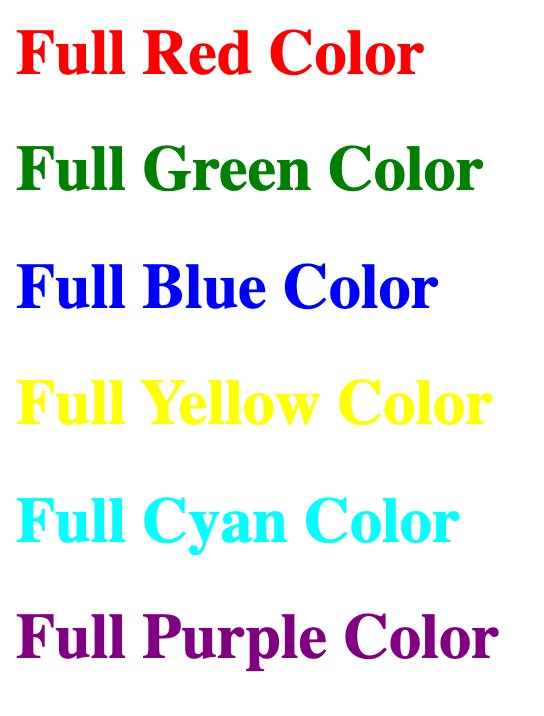 HTML 5 Tutorial: Color Codes - HTML Color by Names