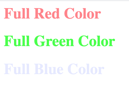 HTML 5 Tutorial: Color Codes - Single RGBA Color