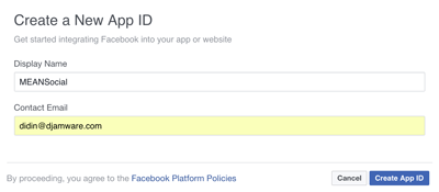 Node Express Passport Facebook Twitter Google GitHub Login - Facebook Create New App ID