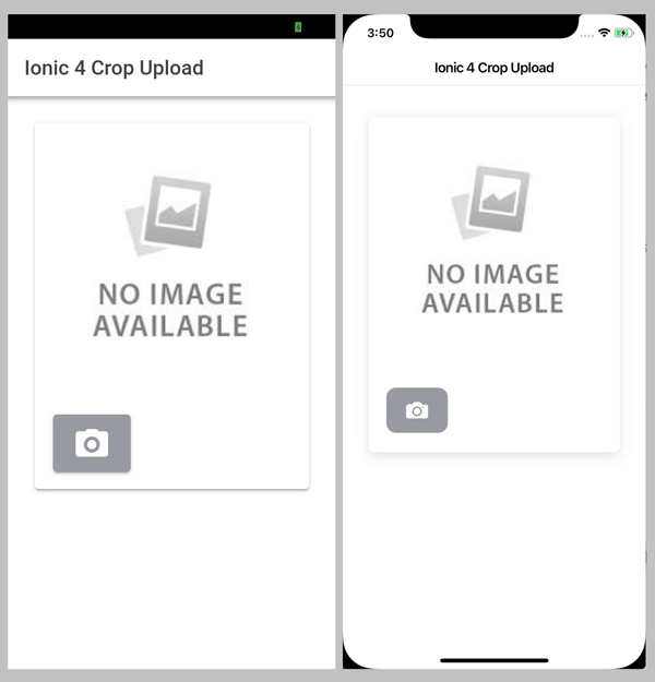 Ionic 4, Angular 7 and Cordova Crop and Upload Image - Before Crop Upload