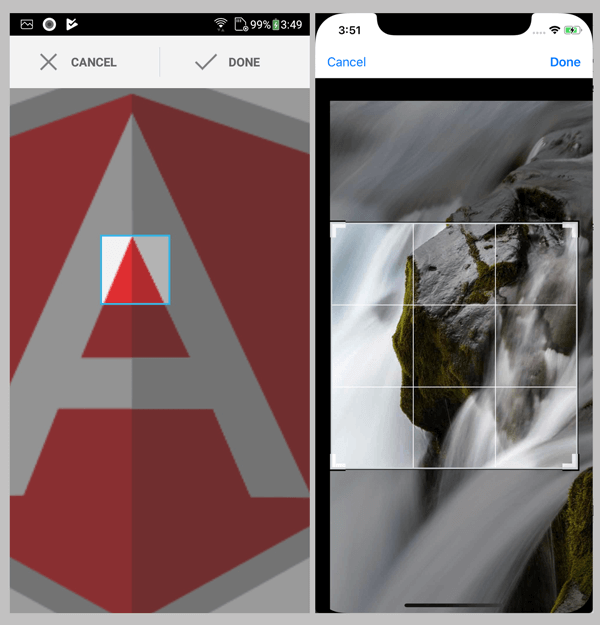 Ionic 4, Angular 7 and Cordova Crop and Upload Image - Crop Image