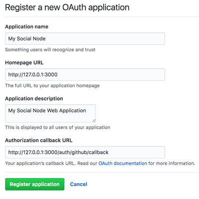 Node Express Passport Facebook Twitter Google GitHub Login - GitHub Register OAuth Application