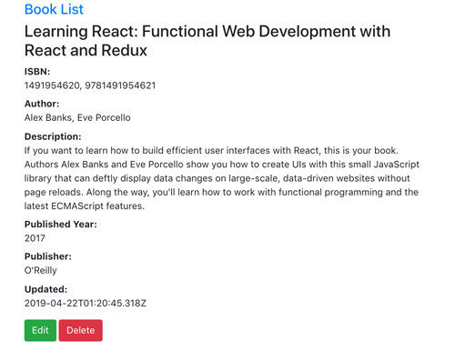 Node, Express, React.js, Graphql and MongoDB CRUD Web Application - Show Book