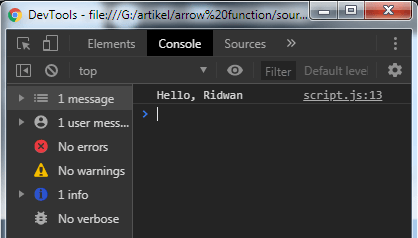 Javascript function: Arrow function - example 1