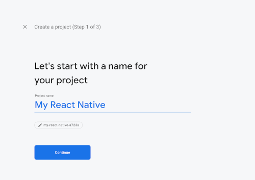 React Native Tutorial: Firebase Email Login Example - Firebase New Project