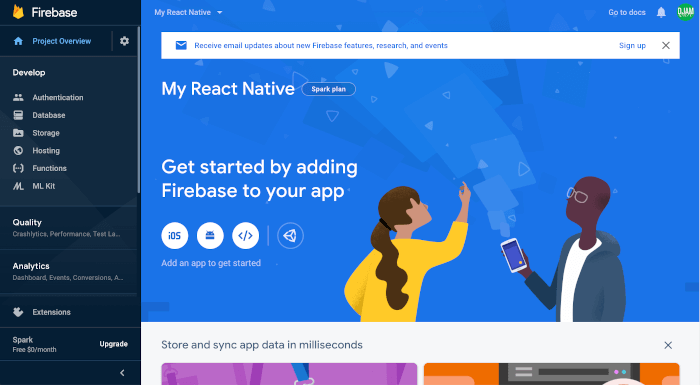 React Native Tutorial: Firebase Email Login Example - Firebase Project Dashboard