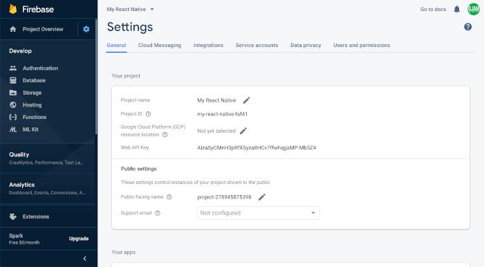 React Native Tutorial: Firebase Email Login Example - Firebase Settings