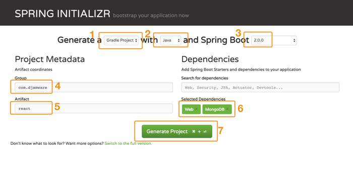 Building Spring Boot, MongoDB and React.js CRUD Web Application - Spring Initializr