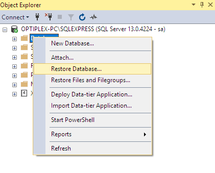 Building Web App using ASP.NET Web API Angular 7 and SQL Server - SQL Restore