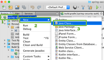 Spring Boot, Security, and Data MongoDB Authentication Example - Netbeans New Java Class