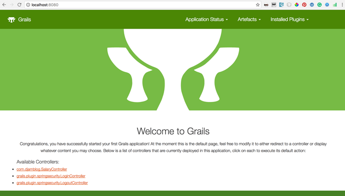 Grails 3 Spring Security Core and MongoDB - home page