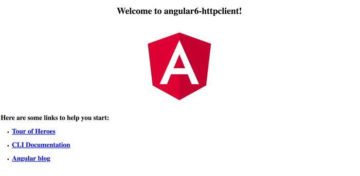 Angular 6 HttpClient: Consume RESTful API Example - Angular 6 Welcome Page