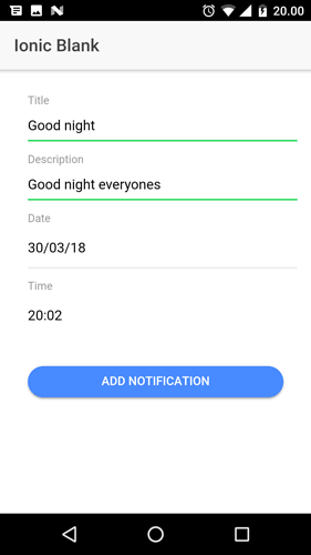 Ionic 3, Angular 5 and Cordova Local Notification Example - Scheduler Form