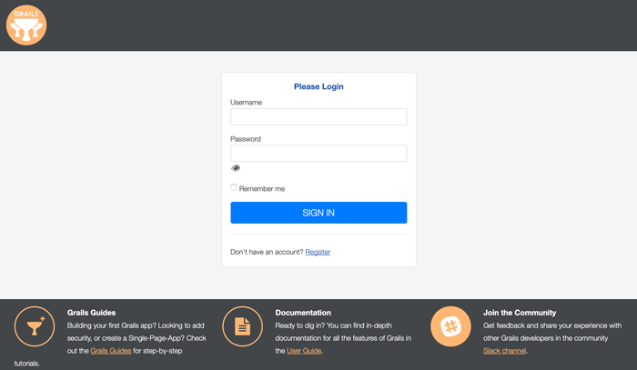 Grails 4 Tutorial: Spring Security Core Login Example - Login Page