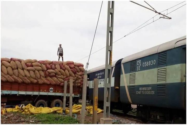 special parcel train loaded by