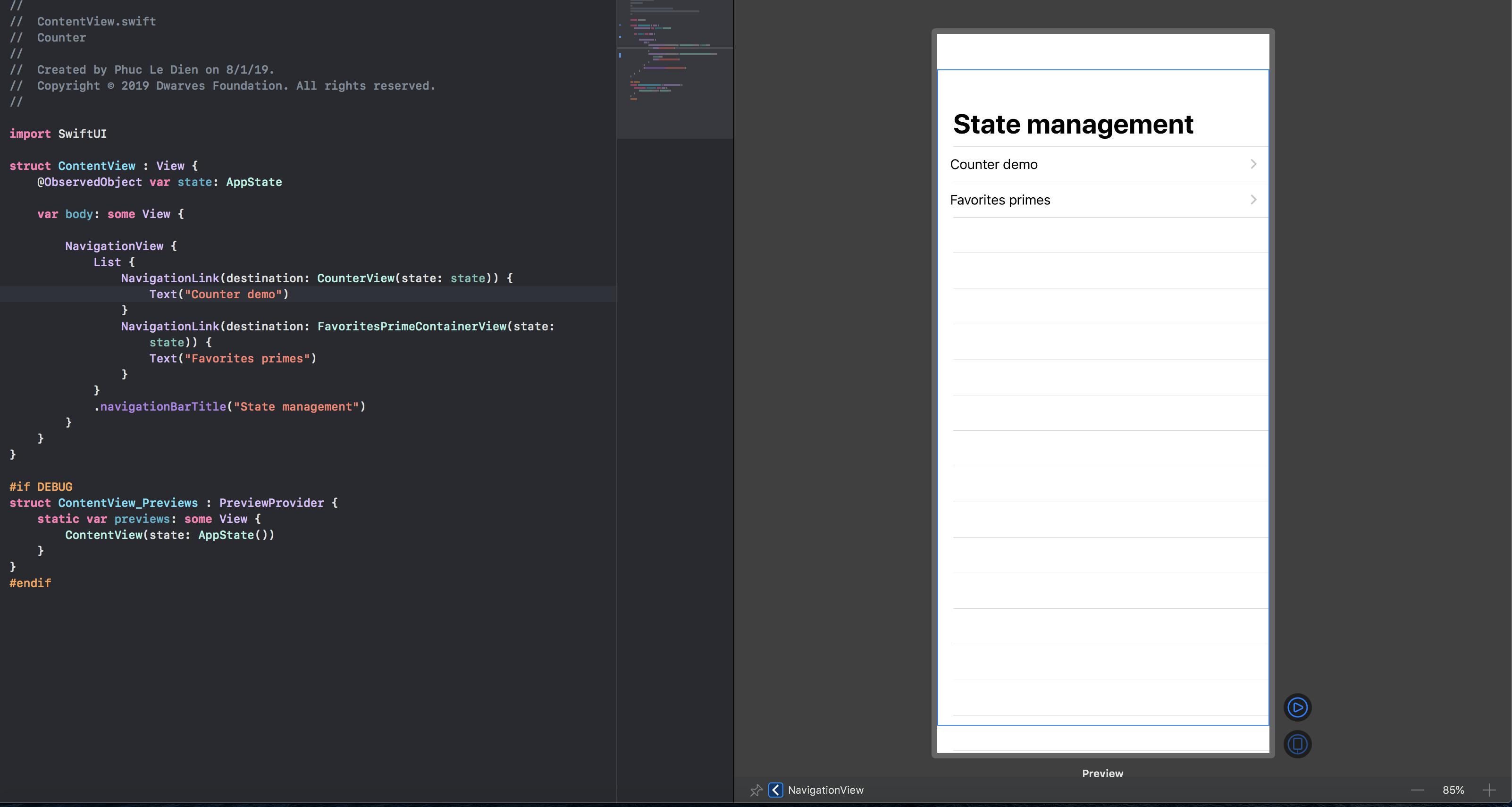 Xcode canvas