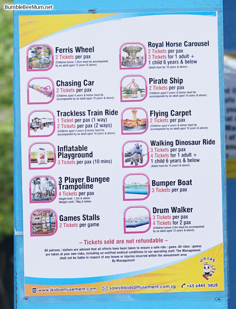 below was the price list for rides and games - Garden By The Bay Fee