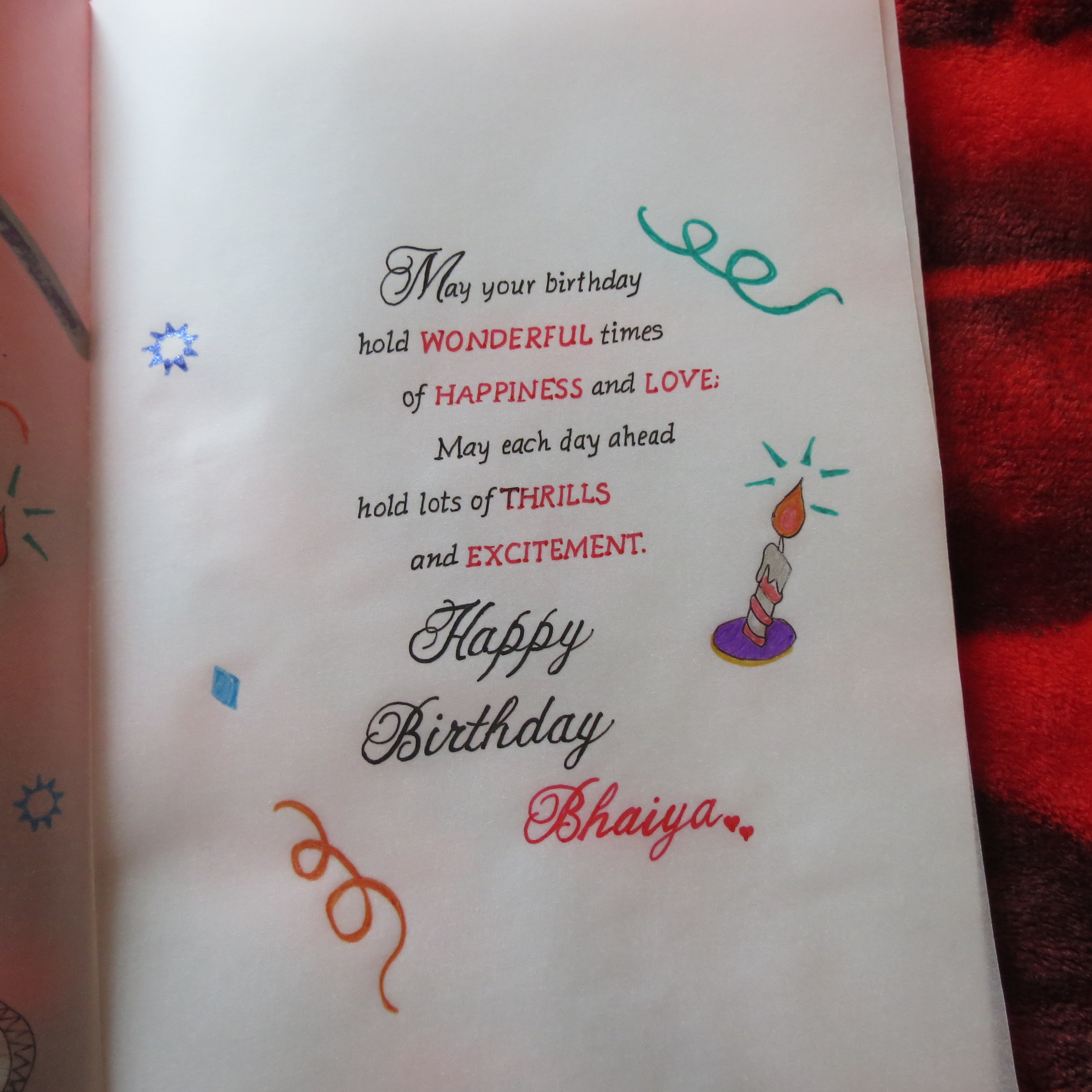 Handicraft Cards Handwritten And Handmade Brothers Birthday Card