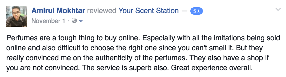 Your Scent Station Customer Review 1