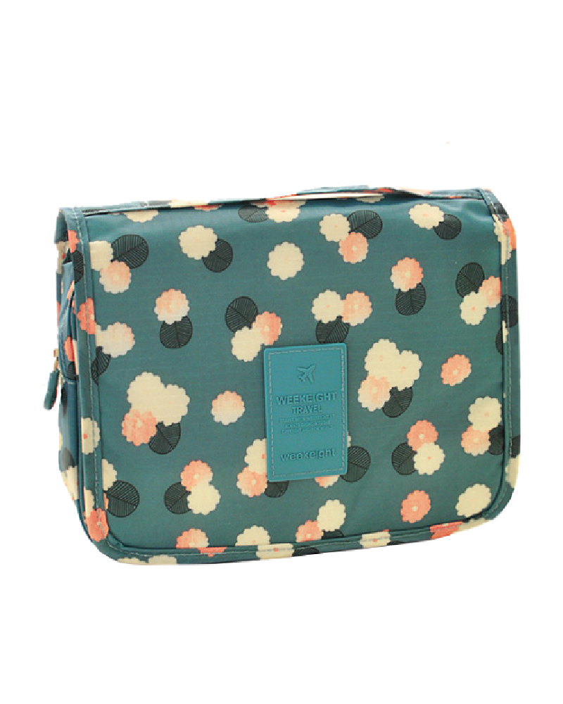 Korea Toiletries Travel Bag (Blue Flowers) U2013 GuruGuru