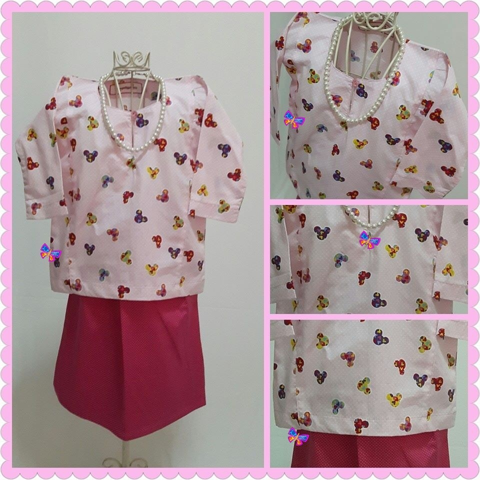Baju Kurung Johor Kanak-kanak English Cotton Pink Mickey with Fucshia Pink Pin Polka Dot Skirt.jpg
