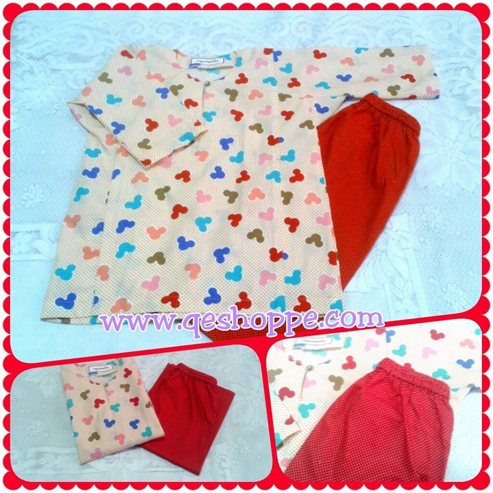Baju Kurung Johor Kanak-kanak English Cotton Red Mickey with Red Polkadot Skirt.jpg